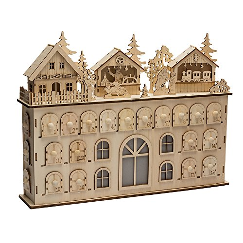 Kurt Adler LED Wooden Advent Calendar Decoration, 13-Inch