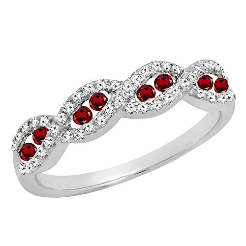 Dazzlingrock Collection 10K White Gold Round Garnet & White Diamond Ladies Anniversary Wedding Band (Size 6) - Garnet White Gold Wedding Bands