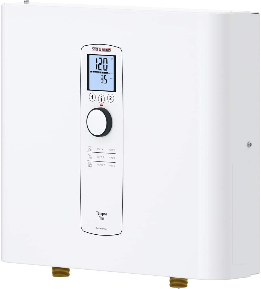 Stiebel Eltron Tankless Water Heater – Tempra 24 Plus – Electric, On Demand Hot Water, Eco, White - -