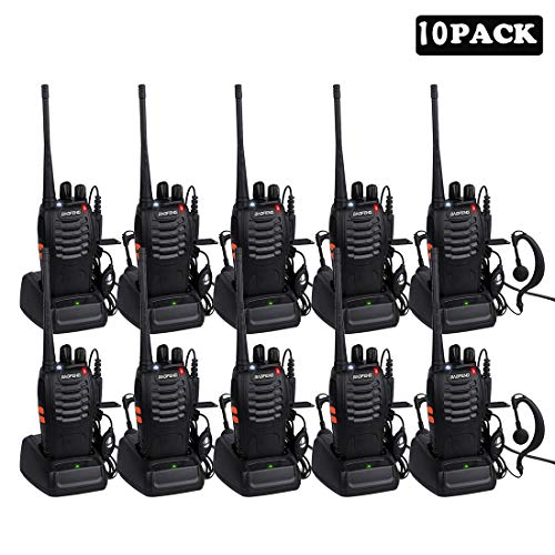 Long Range Walkie Talkie BF-888S, Sunreal 2 Way Radio with Rechargeable Li-ion Battery and Earpieces (10 pack)