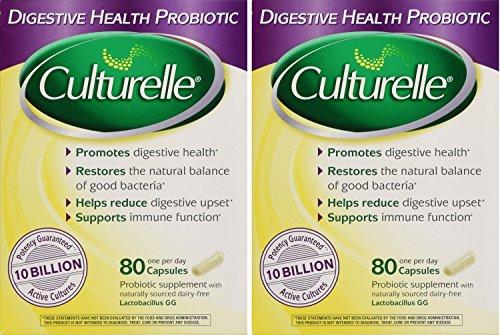 Culturelle, Digestive Health Probiotic lstli 80 Capsules (Pack of 2) (Culturelle Probiotic Dietary Supplement Capsules)
