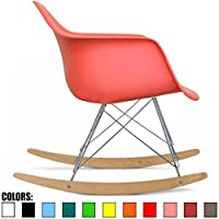 2xhome - Pink - Eames Style Molded Modern Plastic Armchair Rocker Chrome Stee...