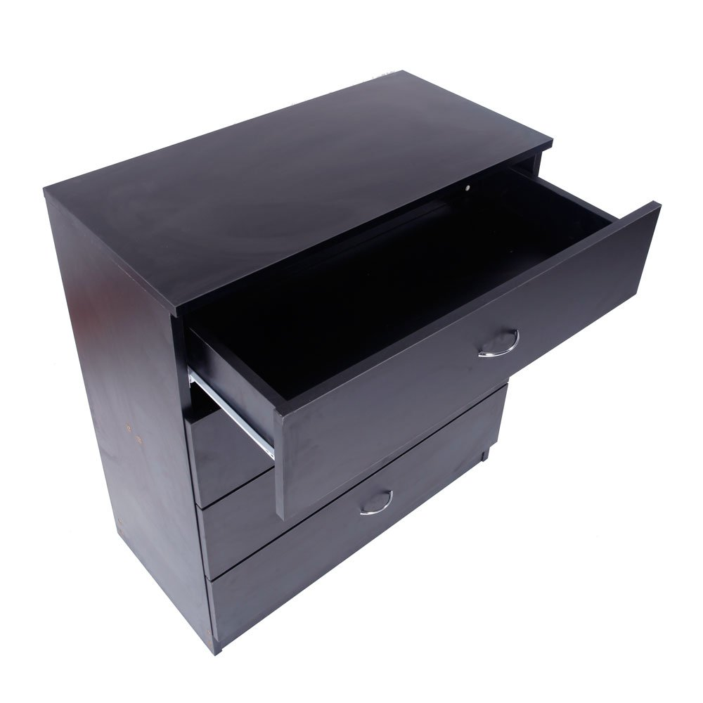 Dresser Bedroom Storage Chest Drawer Modern Wood Furniture White (4-Drawer, Black) by Lykos (Image #9)
