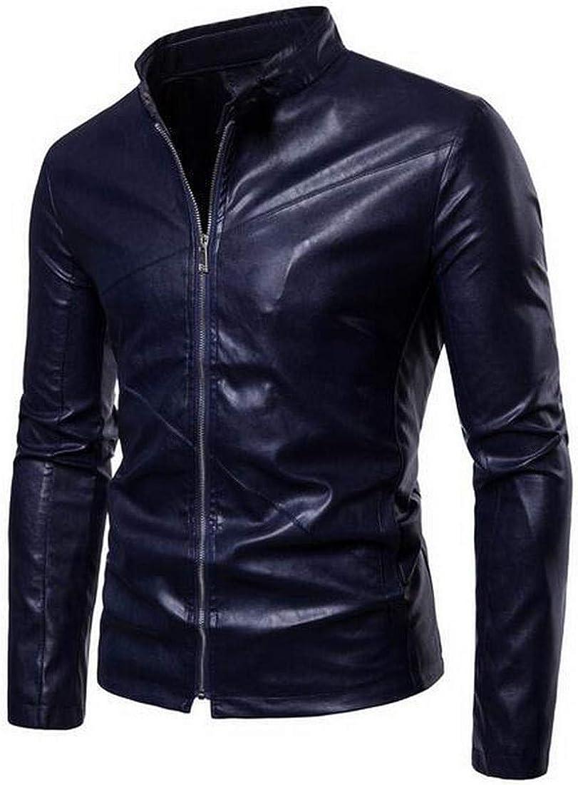 Bravepe Men Oversized Stand Collar Slim Solid Color Pu Leather Moto Biker Jacket Coat