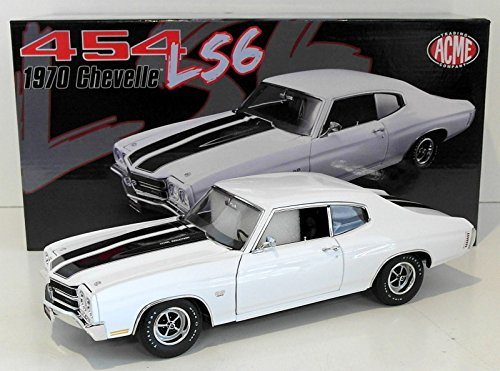 Chevrolet 1970 SS 454 LS6 Chevelle Classic White with Black Stripes Limited Edition 1/18 by Acme A1805508 ()