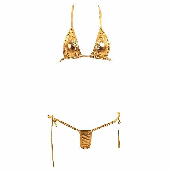733685838d2 Mpitude Free Size Shiny Golden Micro Bikini Swimwear Sexy Lingerie String  Bikini Honeymoon Bikini Set for Women: Amazon.in: Clothing & Accessories