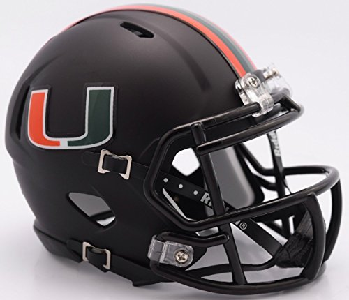 Riddell NCAA Miami Hurricanes Helmet Mini SpeedHelmet Replica Mini Speed Style Miami Nights Design, Team Colors, One -