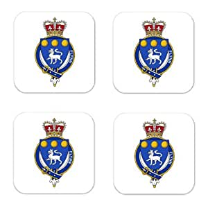 Flynn Ireland Family Crest Square Coasters Coat of Arms Coasters - Set of 4