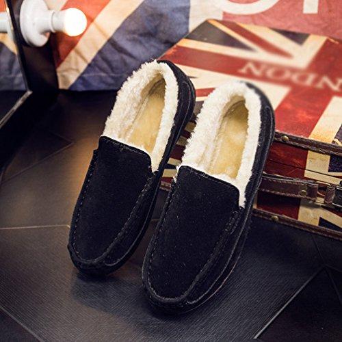 Stivali Uomo Scarpe Caloroso Moda Dooxi da Nero Slip Barca Inverno On Basse Piatto Foderato Loafers Comfort Neve XOwdw