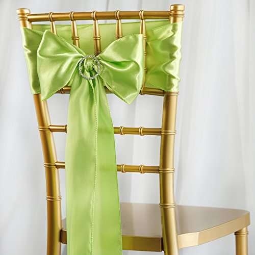 BalsaCircle 50 Apple Green Satin Chair Sashes Bows Ties for Wedding Decorations Party Supplies Events Chair Covers Decor Banquet Reception