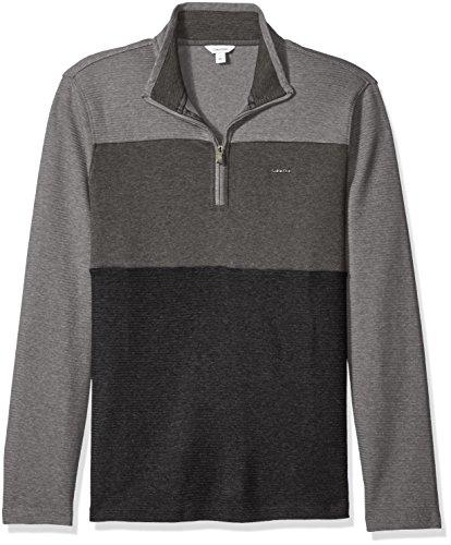 Calvin Klein Men's Mock Neck Quarter Zip Sweater, Black, Medium by Calvin Klein