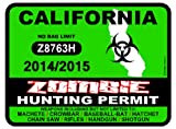 CALIFORNIA Zombie Hunting Permit 2014/2015 Car Decal / Sticker