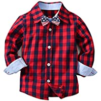 Easytoy Baby Boys' Long Sleeve Button Down Plaid Shirt With Bowtie