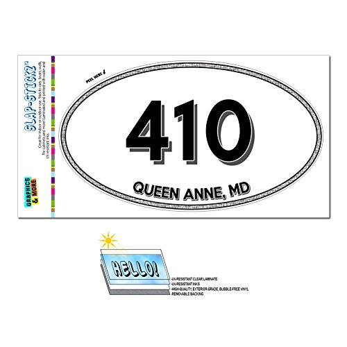 Graphics and More Area Code Oval Window Sticker 410 Maryland MD Pittsville - Union Bridge - Queen - Town Queens Md