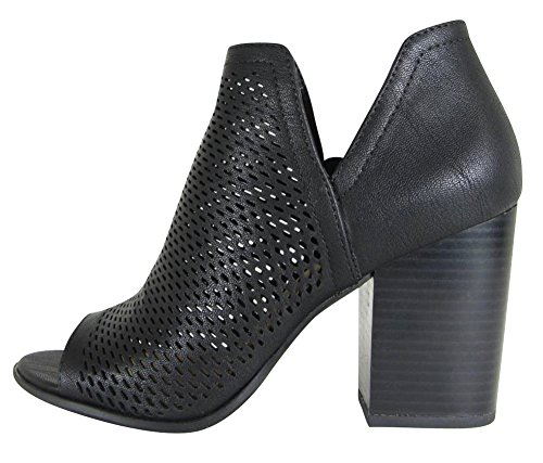 Cambridge Select Women's Open Toe Perforated Caged Laser Cutout Chunky Stacked Block Heel Ankle Bootie,9 B(M) US,Black Nbpu