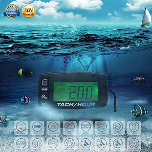 (FOUNDOWN Engine Hour Meter Inductive Tachometer Gauge Backlit Digital Resettable for Motorcycle Marine Glider ATV Snow Blower Lawn Mower Boat)