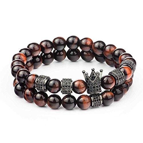 (Gemfeel CZ Crown Bracelet for Men 8mm Red Tiger Eye Stone Beads Bracelet Stack, 7.7