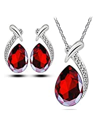 XY Fancy Women Chic Crystal Pendant Silver Plated Chain Necklace Stud Earring Jewelry Set