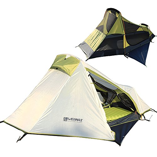 Weanas One Person Tent, Single Person Backpacking Tent, Extra Size Lightweight Single Tent with Gear Storage Footprint (Green)
