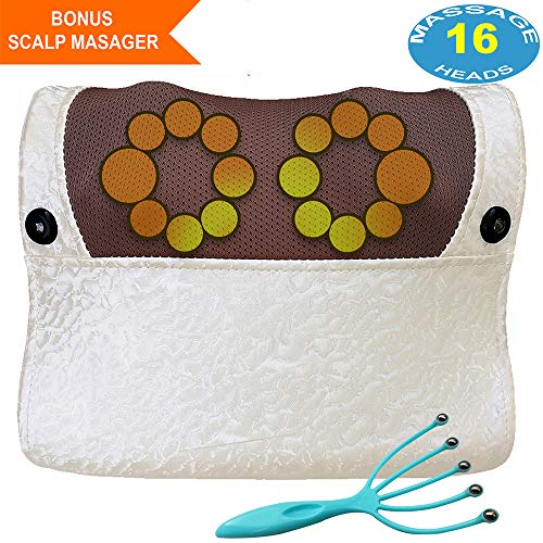 Sellurite Shiatsu Back Neck Massager | Electric Massage Pillow for Back, Neck, Shoulder & Legs. | 16 Massaging Heads for Relax Muscles & Relieve Pain | Portable & Ergonomic.