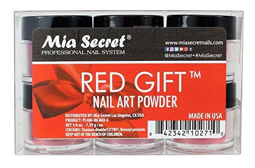 Mia Secret Red Gift Nail Art Powder - 6 Piece