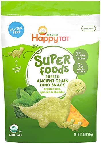 Happy Family Tot Super Foods Dino Snacks Kale, Spinach & Cheddar, 11.84 Ounce (pack Of 8)