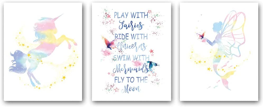 """Set of 3 Unicorn and Mermaid posters, Colorful Butterfly Wall Art ,Pink Stars Watercolor Art Print with Inspirational Words Stories,for Girls Bedroom Nursery Home Decor,Gift.,(Unframed,8""""X10""""inches),(Unframed,8""""X10""""inches)"""