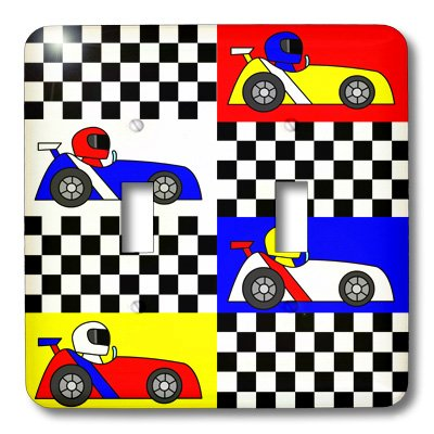 3dRose lsp/_25340/_2 Boy Stuff Blue Red Yellow Racecars Checkered Flag Design Double Toggle Switch