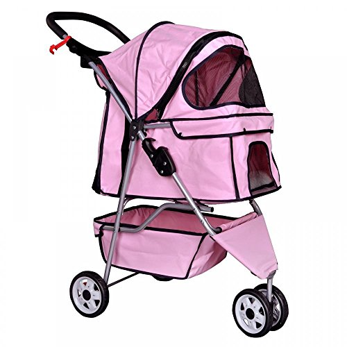 easy-fold-pink-pet-stroller-for-dog-lovers-easy-to-use-great-for-walks-and-jogging