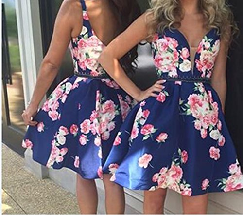 2018 BD305 Short BessDress Party Print Green Satin Dresses Homecoming Neck V 2 Style Floral Beaded TPIq0P