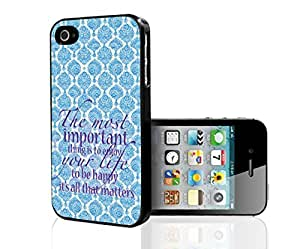 "Baby Blue and Cream Antique Pattern Background with Purple Quote ""The Most Important Thing Is to Enjoy Life, and to Be Happy. It's All That Matters."" Hard Snap on Phone Case (iPhone 5/5s)"