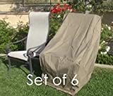 Premium Tight Weave Patio Hi Back Chair Covers set of 6 with Velcro up to 42″ H in Taupe