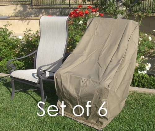 Premium Wicker Chair Covers (Premium Tight Weave Patio Hi Back Chair Covers set of 6 with Velcro up to 42