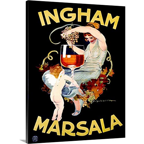 (Ingham Marsala Wine Vintage Advertising Poster Canvas Wall Art Print, 18