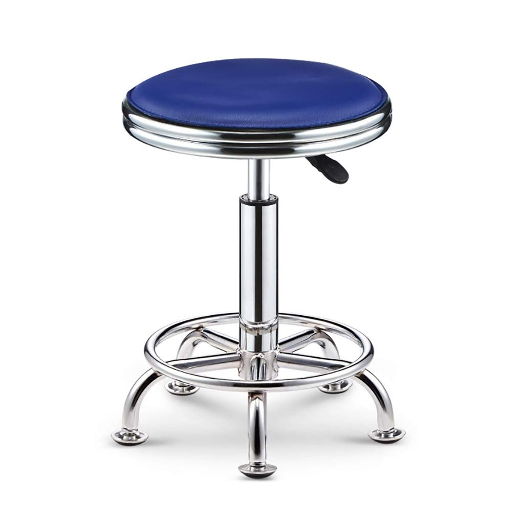bluee NUBAO Task Stool, Counter Chair, High Stool, Hard Leather Packaging Electroplated Chassis Nail Non-Slip Mute Clinic Hair Salon Stool Lift 39-51cm 6 colors (color   White)