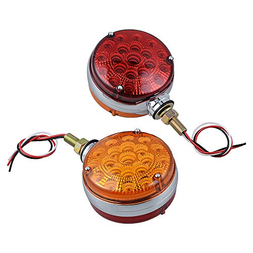 Anzio Side Marker Light 42 LED Stop Turn Tail Lamp Amber/Red Double Face Cab Fender Signal for Heavy Duty Truck Trailer Tractor Semi-Trailer Dump Pack of 2