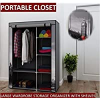Portable Closet Clothing Storage Bedroom Wardrobe Assembly Organizer with Shelves 105 x 45 x 158 cm - Big Ben