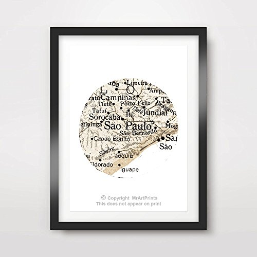 Sao Paulo Brazil Vintage Map ART PRINT Poster Home Decor Wall Picture A4 A3 A2 (10 Size Options)