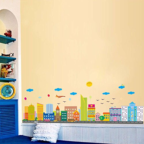 BIBITIME Multicolored City Border Wall Decal Road Car Bus Sky Sun Cloud Balloon Airplane Vinyl Sticker for Nursery Bedroom Children Kids Room Decor Art PVC Murals