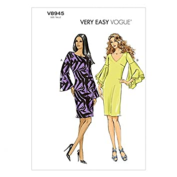 Vogue Damen Easy Schnittmuster 8945 Kleider mit Ärmel Volants ...