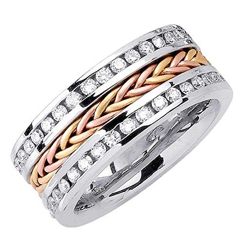 - 1.75ct TDW White Diamonds 18K Gold Braided Women's Wedding Band (G-H, SI1-SI2) (9.5mm) Size-7.5c4