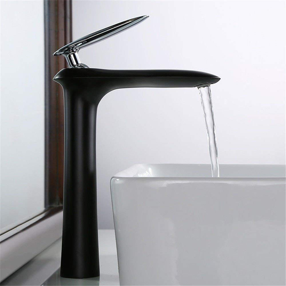 F FORTR home Sink Mixer Tap Bathroom Kitchen Basin Water Tap Leakproof Save Water Black Paint Basin Copper Hot And Cold High, B (color   B)