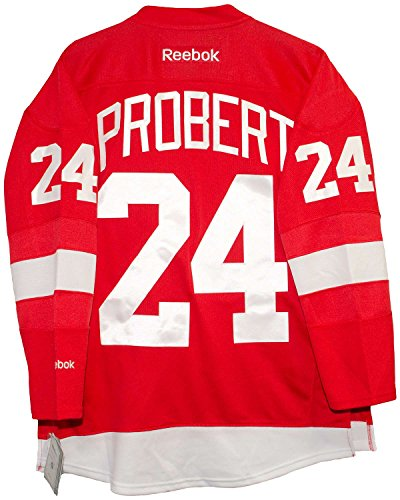(Bob Probert Detroit Red Wings Home Red Reebok Premier Jersey Sewn Tackle Twill Name and Number (Medium))