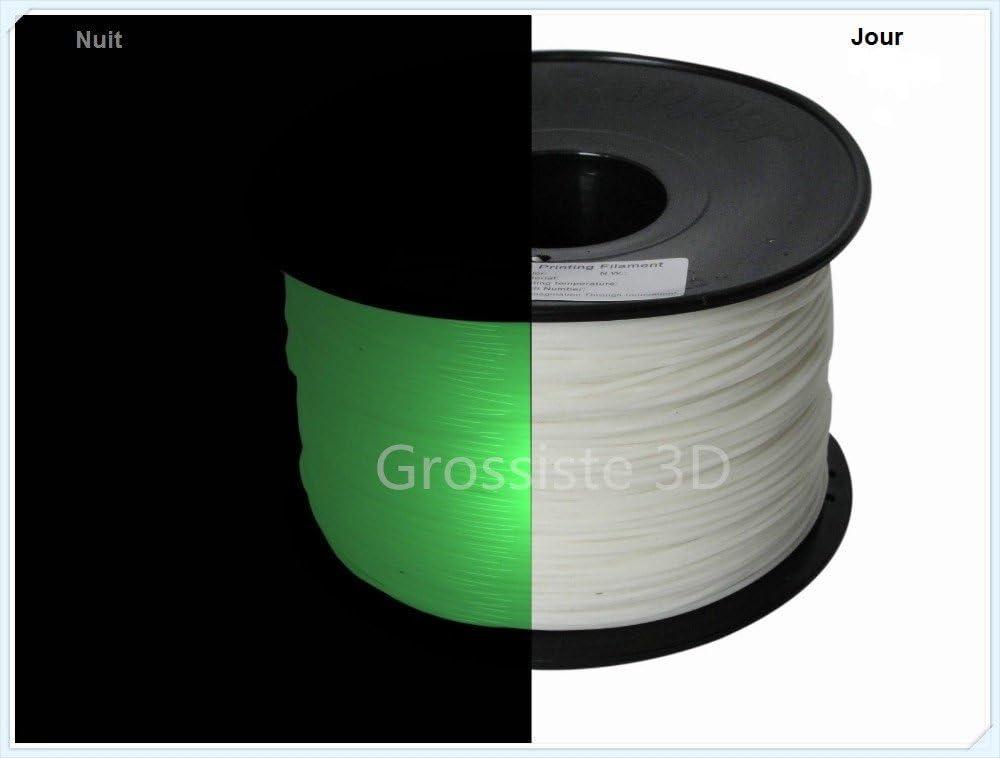 Grossiste3D® - Filamento en 3D, color verde fosforescente, PLA, 3 ...
