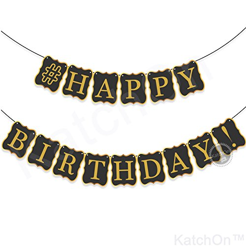 BLACK HAPPY BIRTHDAY BANNER DECORATIONS - Classy Birthday Bunting Banner Sign | Birthday Decorations for Men or Adult Party | Birthday Party Supplies for 21st 30th 40th 50th 60th Birthday Decorations -