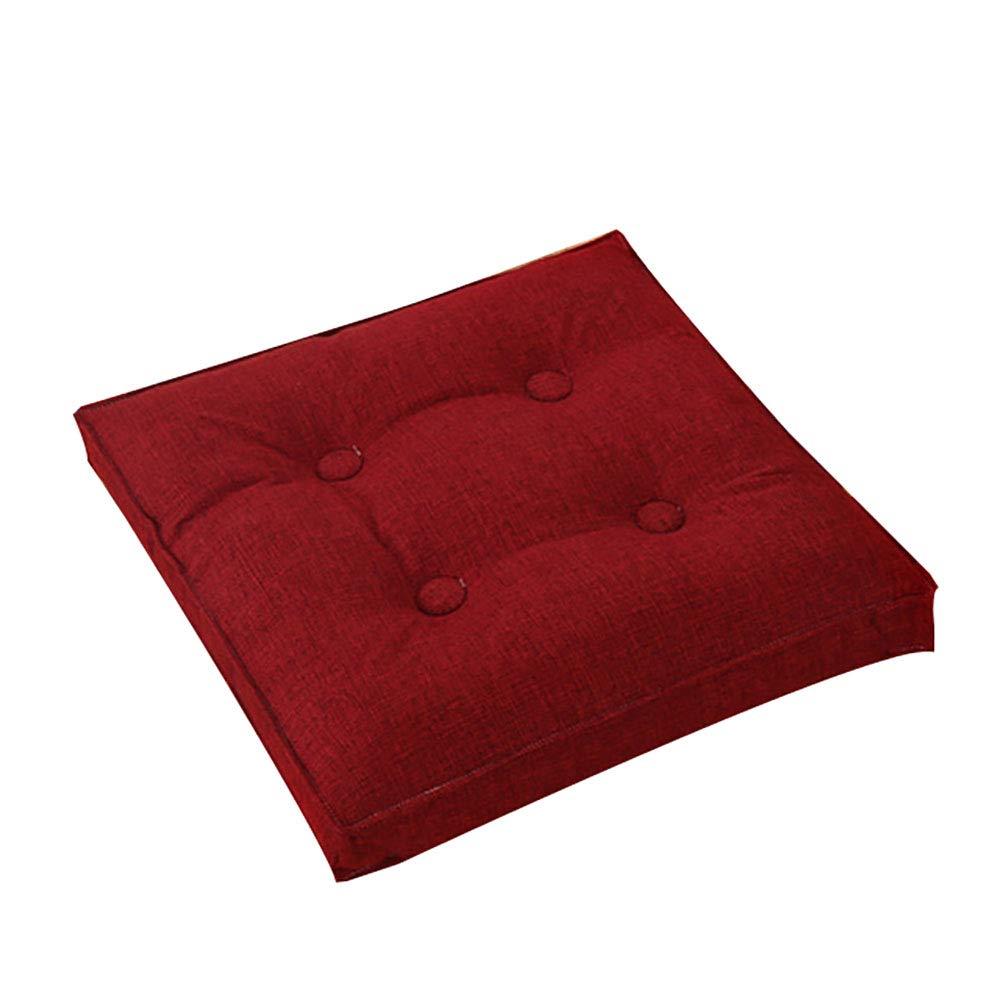 Seat cushion Coussin De Sol Carr/é,Solid Color Lin Removeable Coussin De Si/ège Lavable pour Le Coussin De Chaise De Patio De Bureau De M/éditation De Yoga-Beige 40x40cm 16x16inch
