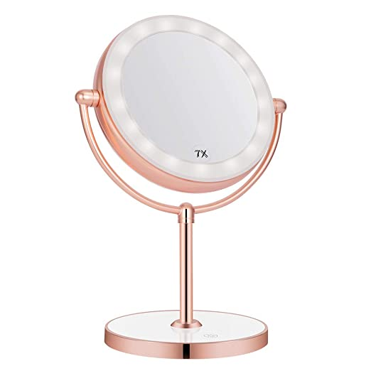 Vanity Mirror with LED lights,Natural Lighted Cosmetic Mirror with 7X Magnification,360 Degree Swivel,Rose Gold
