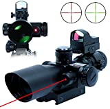 UUQ® Clarity+ 2.5-10X40 Compact CQB Red Laser Rifle Scope Green/Red Illuminated Mil-Dot Reticle with Mini Reflex 3 MOA Red Dot Sight