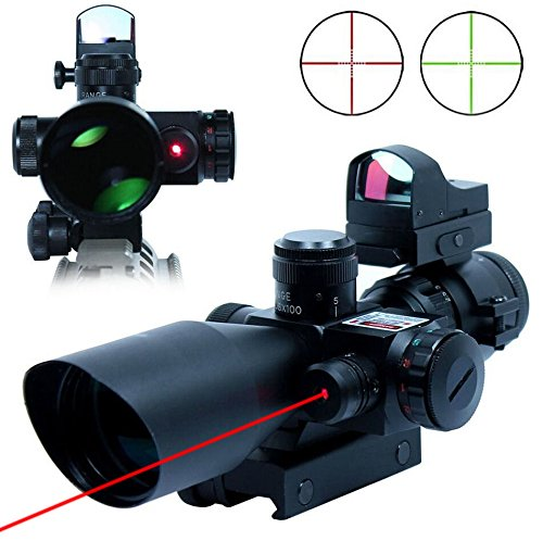 (UUQ® Clarity+ 2.5-10X40 Compact CQB Red Laser Rifle Scope Green/Red Illuminated Mil-Dot Reticle with Mini Reflex 3 MOA Red Dot Sight)