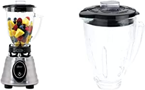 Oster BPCT02-BA0-000 6-Cup Glass Jar 2-Speed Toggle Beehive Blender, Brushed Stainless & BLSTAJ-CB Blender 6-Cup Glass Jar - Black Lid
